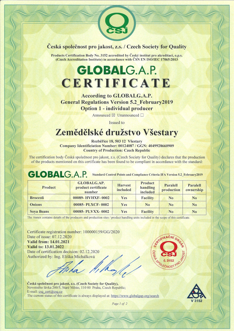 Certifikát Globa G.A.P.